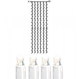 LED Gardin 1x4m Kallvit 204L Vit Kabel