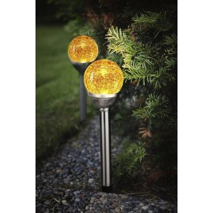 Solcellslampa Knut, Stigbelysning Krossad Glaskula Amber 2-Pack