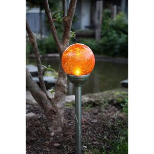Solcellslampa Sverker, Stigbelysning Glaskula Amber