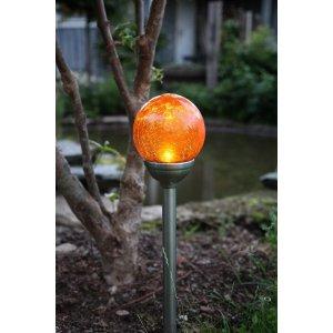 Solcellslampa Sverker 12 cm Amberfärgad Krakelerad Glaskula