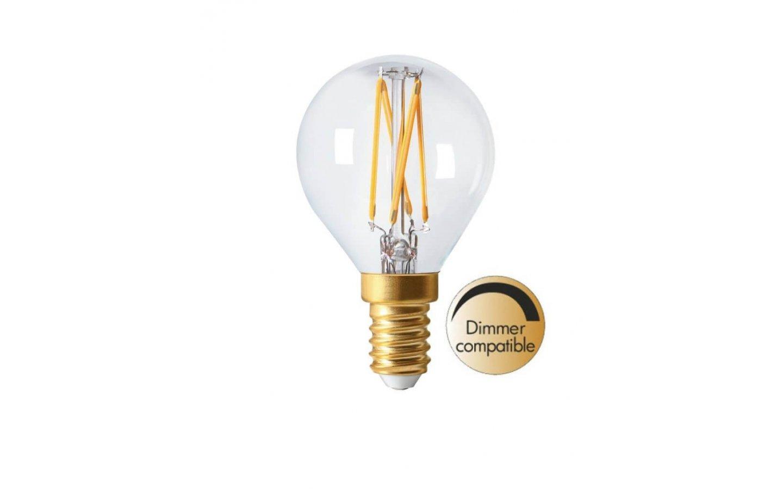 Dimbar LED lampa i klarglas med E27 sockel. Lampan liknar en