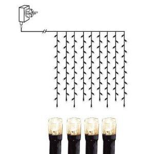 LED Gardinslinga 1m Varmvit Svart Kabel
