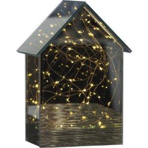 Batteridriven Lykta Mirror House LED 20cm