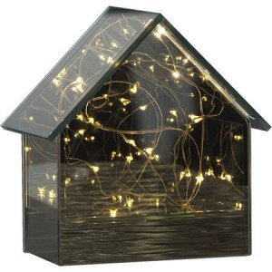 Batteridriven Lykta Mirror House LED 14,5cm
