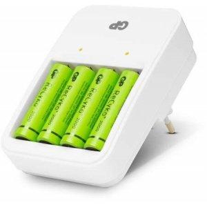 Batteriladdare med 4st uppladdningsbara GP AA-batterier