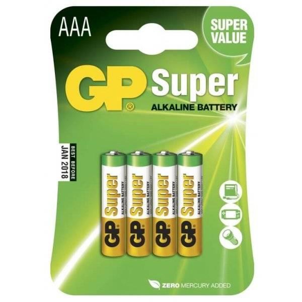 AAA-batterier Super Alkaline, LR03 1,5V, 4-pack