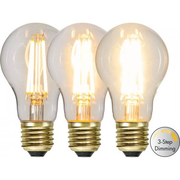 LED-Lampa 3-Steg DIM Normal, E27 2100K 700lm 6,5W(50W)