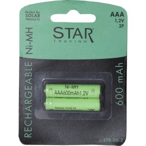 Uppladdningsbara AAA batteri 1,2V 600mAh Ni MH 2 Pack