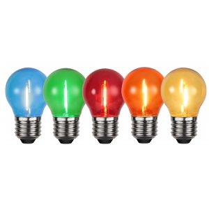 Dekorationslampa 5 färger LED E27 0.9W, 5-pack